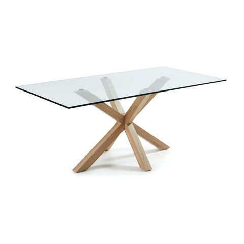 Ryan Table 200x100 Veneer Natural Glass Clear C07,