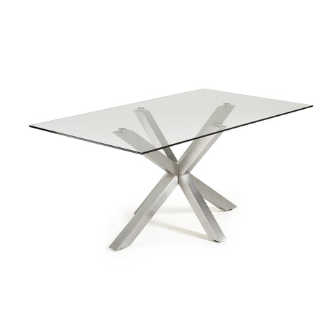 Ryan Table 180x100 S/Steel Matt Legs Clear Top,