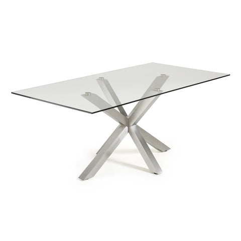 Ryan Table 200x100 S/Steel Matt Legs Clear Glass Top,