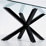 Ryan Table 150x90 Epoxy Black Legs Clear Glass Top,