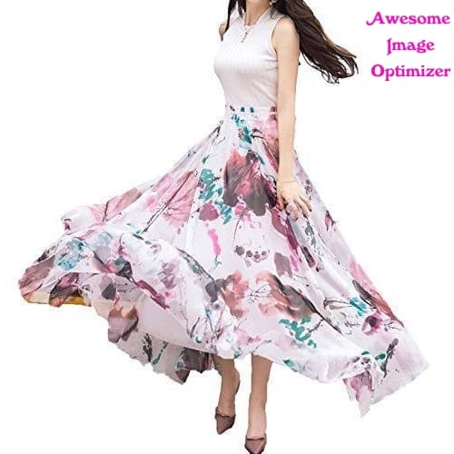 Women Full/ankle Length Blending Chiffon Long Skirt
