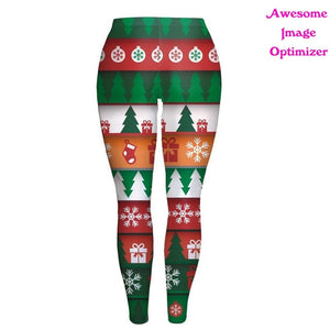 Fashion Women Lady Skinny Christmas Printed Stretchy Pants Leggings