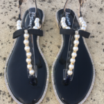 Pearl & Crystal Black Sandals