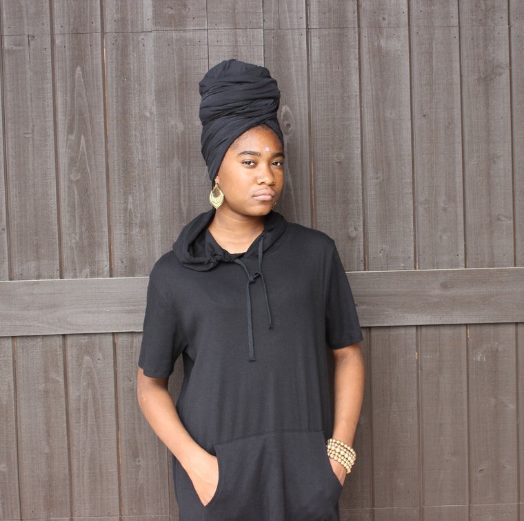 Black Hooded Dress W/Pocket