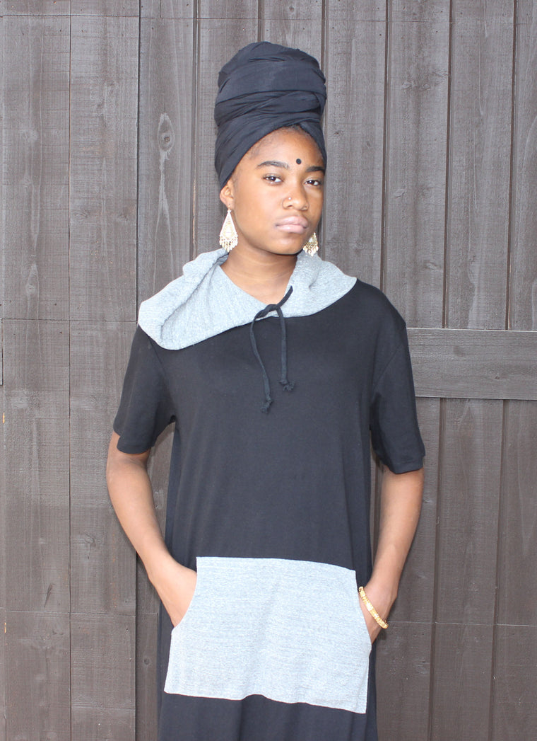 Black & Gray Hooded Dress W/Pocket