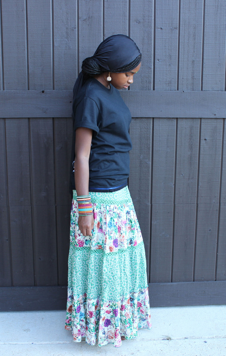 Green Flower Maxi Skirt