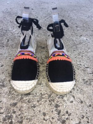"Black ""Lace Up"" Espadrille"