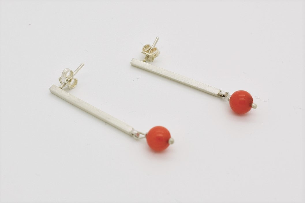 Square Wire Earrings with Coral