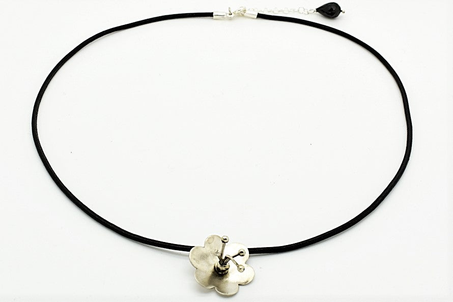 Handmade Silver Flower Pendant with Black Leather Cord and Onyx