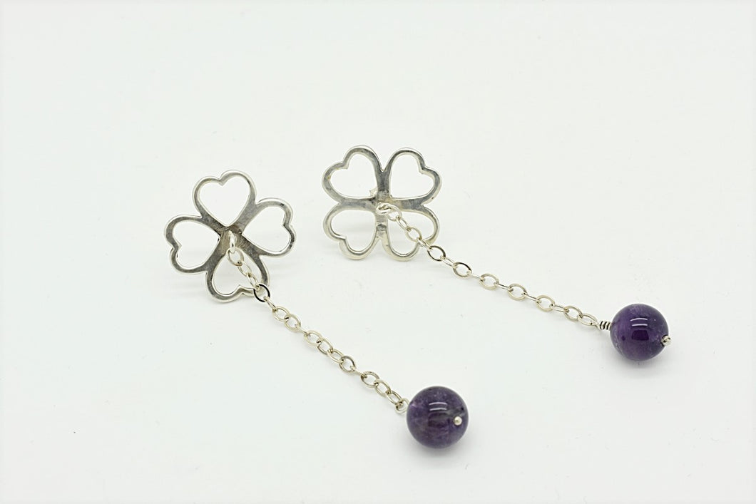 Handmade Four-Leaf-Clover Earrings with Amethyst