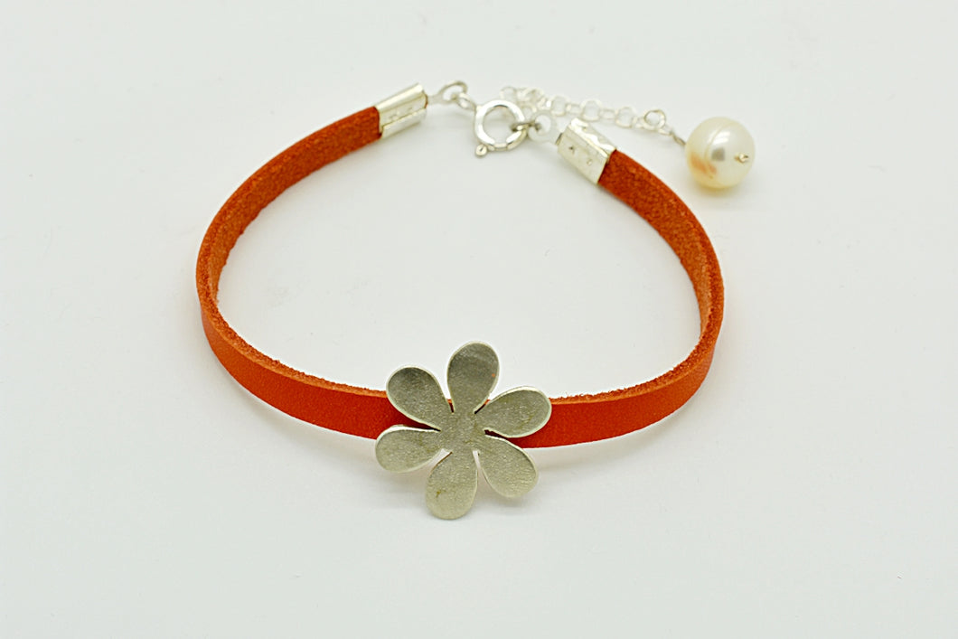 Handmade Silver Flower Bracelet with Orange Leather and a Pearl