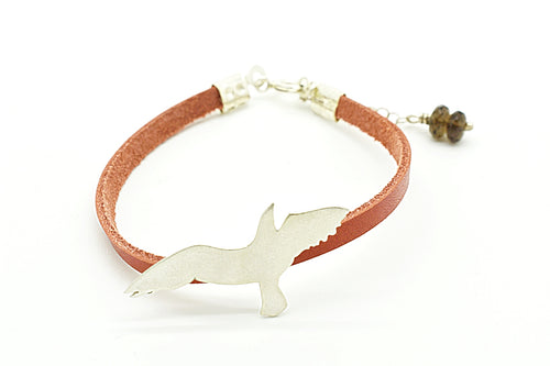 Handmade Silver Seagull Bracelet with ginger Leather Cord and Smoky Quartz