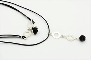 Handmade Choker with Silver Hoops and Four-leaf-clover and Lava stones