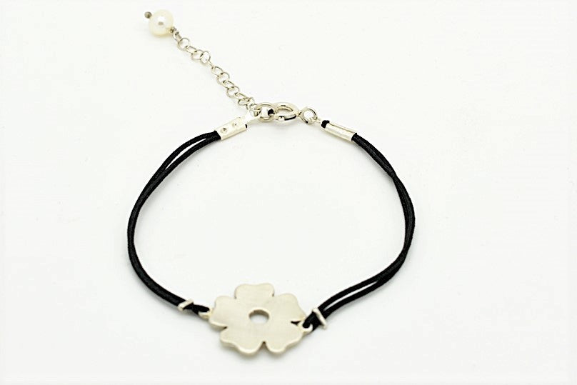 Handmade Silver Flower Braclet with Black Nylon Cord and Pearl