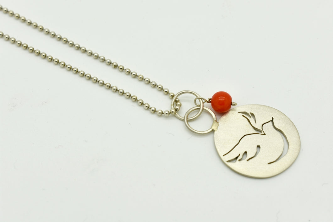 Handmade Silver Bird Necklace with a Coral