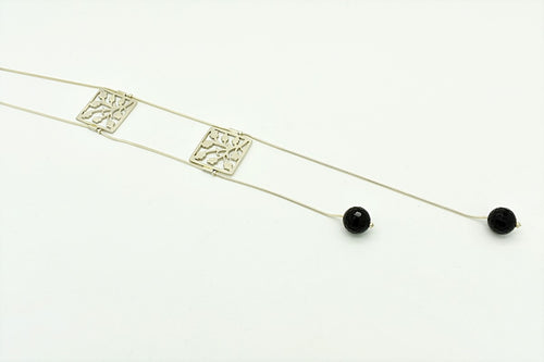 Handmade Square Leaf Motif and Onyx Necklace