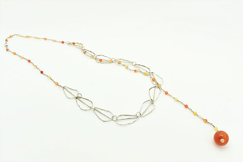 Handmade Silver Chain and Agates Necklace
