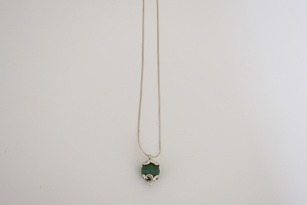Domed flower pendant with aventurine
