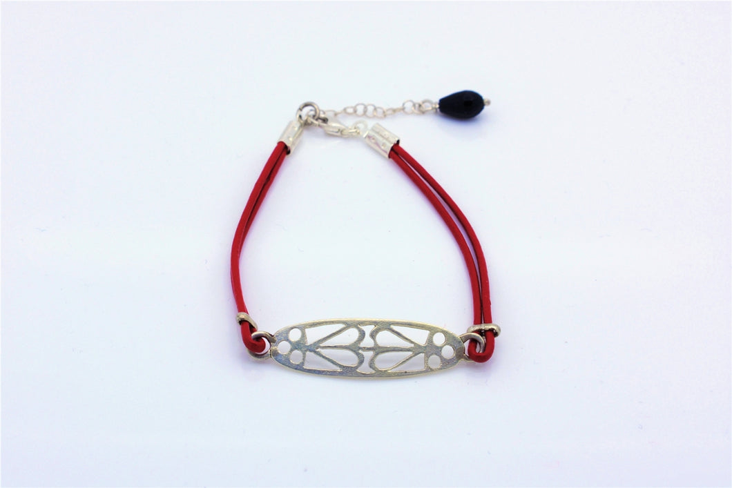 Handmade Ornament Motif Red Leather Bracelet With An Onyx