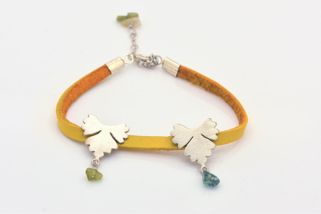 Handmade Silver Leaf Bracelet on Dark Yellow Leather Cord and Tourmalines