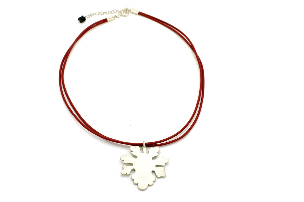 Handmade Silver Leaf Choker on Red Cord