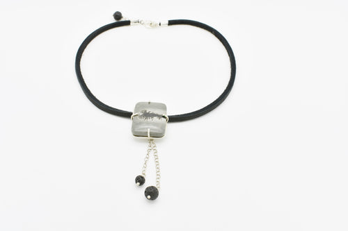 Black Leather and Jasper Choker with Lava Stones