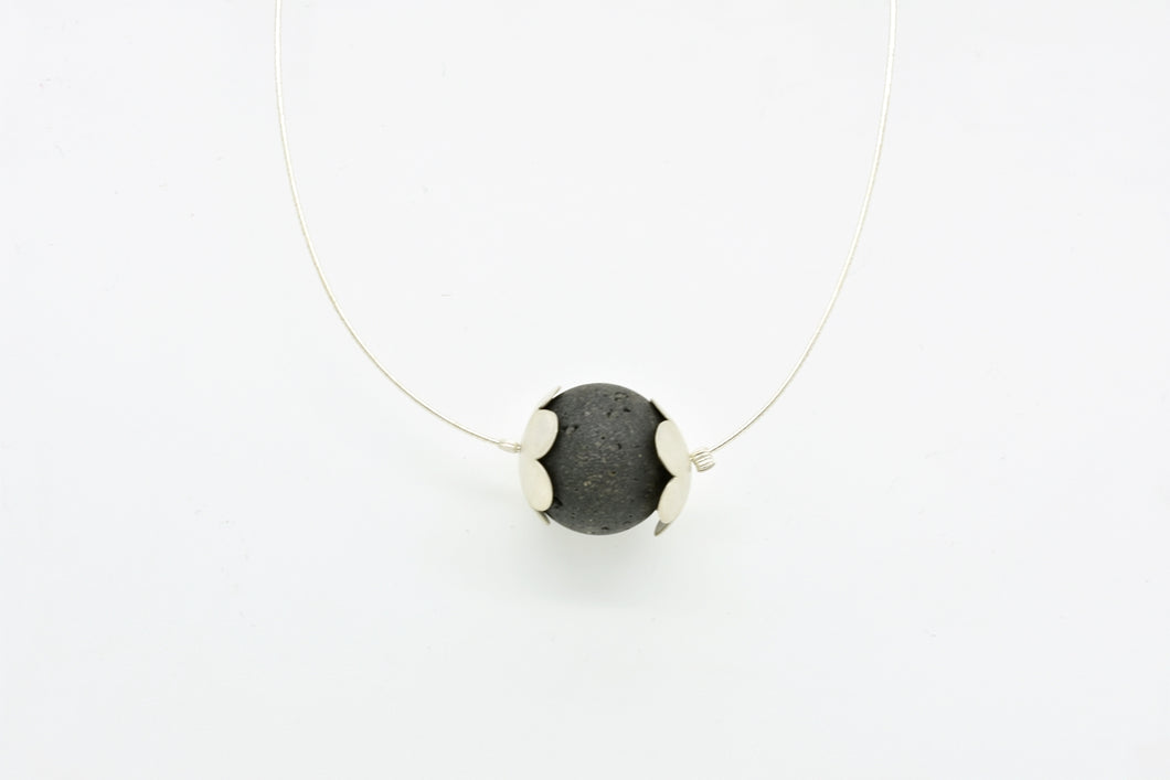 Handmade Silver Daisies with Big Lava Stone