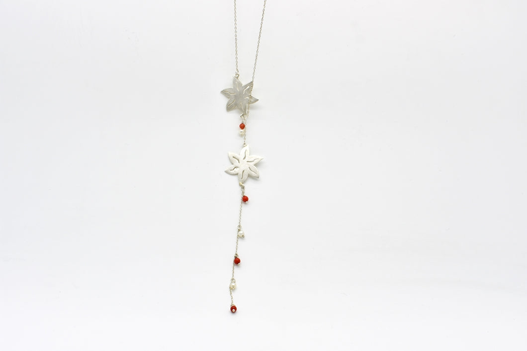 Handmade Silver Flower Pattern Necklace with Pearls and Corals