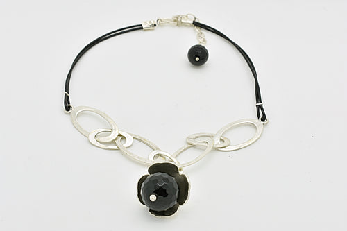 Handmade Silver Oval Hoops and Black Leather Choker with Four-Leaf-Clover and Onyx