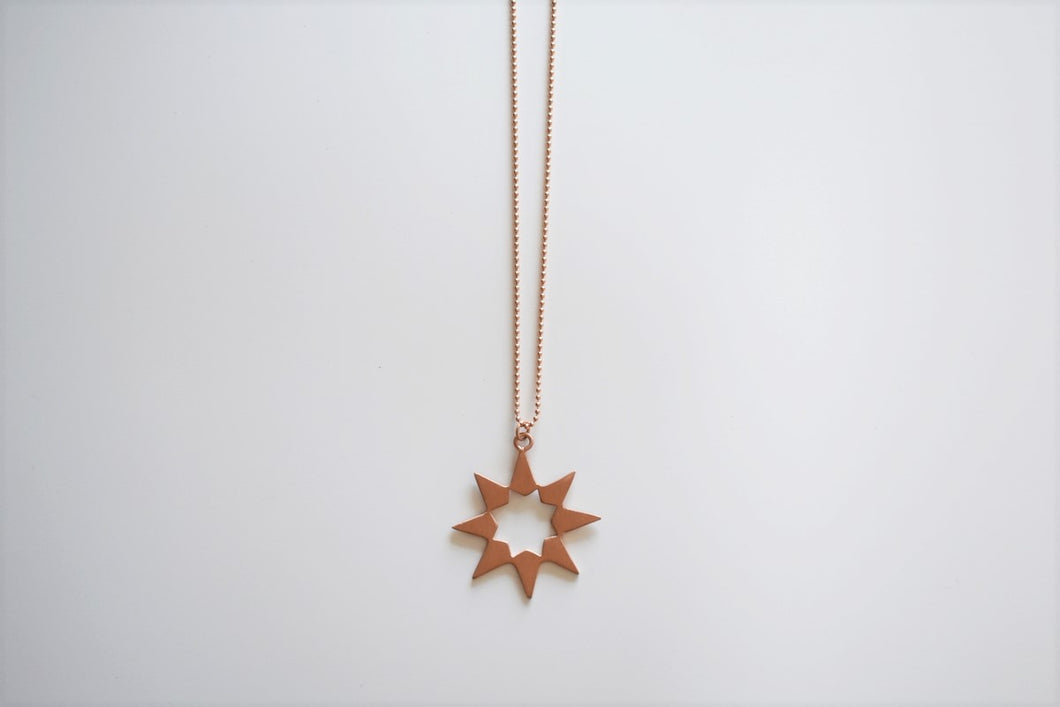 Handmade Silver 8 Pointed Star on Silver Chain