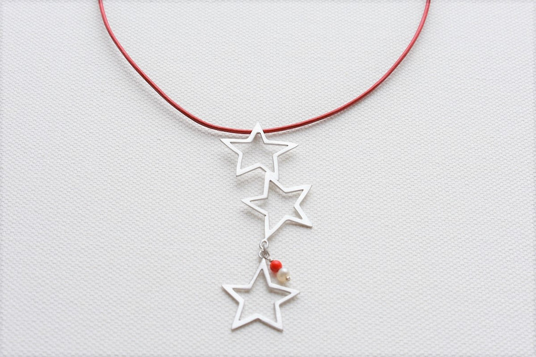 Handmade Silver Stars on Leather Cord