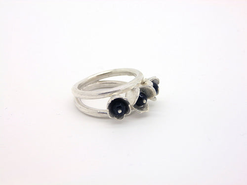 Handmade Silver Ring With Onyxes