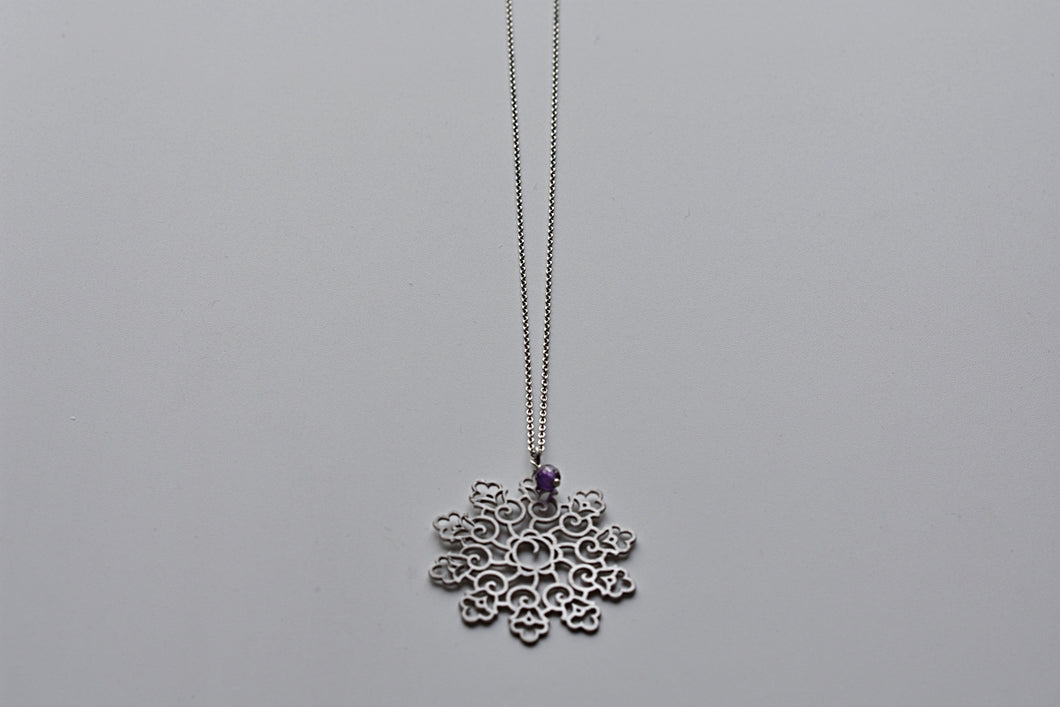 Silver necklace with Turkish tile-Penc motif