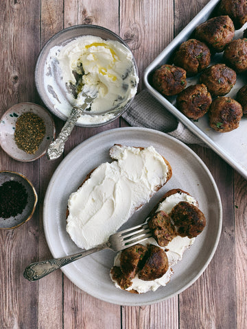 Spiced Lamb Meatballs on Labneh Toasts