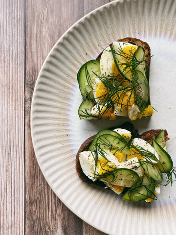 Boiled eggs, cucumbers, dill, buttery sourdough
