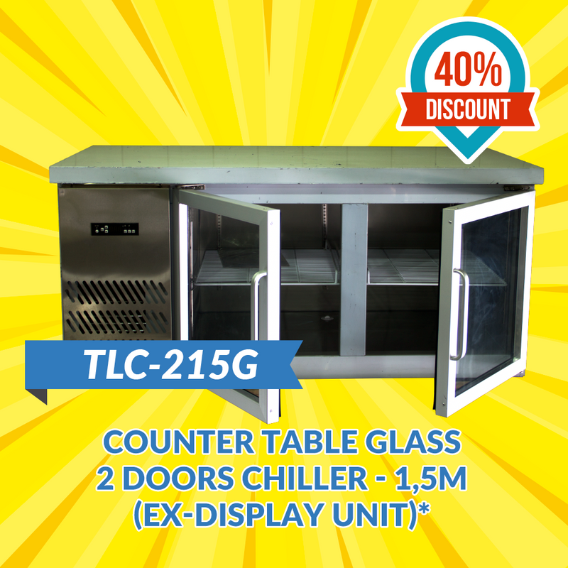 TLC-215G Counter Table Glass 2 Doors Chiller 1.5M (Ex-Display Unit)