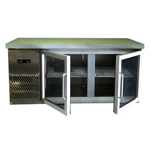 TLC-215G Counter Table Glass 2 Doors Chiller 1.5m