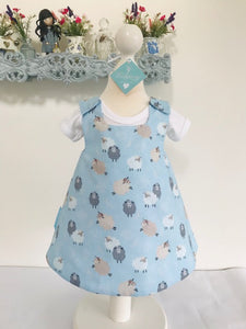 The Wishfairy Reversible Pixie Pinafore Baby Dress (Cute Fluffy Sheep and Clouds)