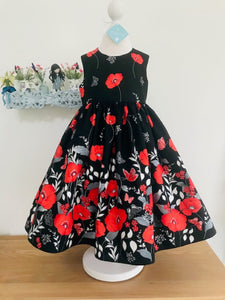 The Wishfairy Eve Dress 'Large Red Poppies Border On Black'