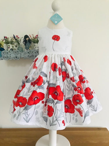 Wishfairy Eve Dress 'Large Red Poppies Border On White'