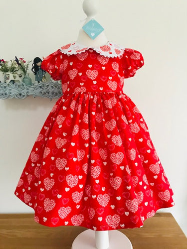 The Wishfairy Danielle Dress 'Large White Hearts on Red''