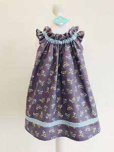 The Wishfairy Shirley Dress (Bluebells on Dusky Plum)