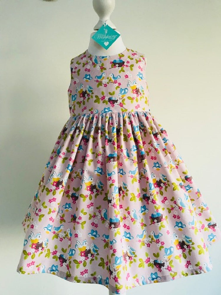 The Wishfairy Eve Dress 'Bluebirds on Rose'