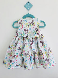 The Wishfairy Bunty Baby Dress (Little Deer on Cream)