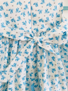 The Wishfairy Bunty Baby Dress (Flying Bluebirds on Cream)
