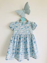 The Wishfairy Sara Ann Baby Dress and Pants (Marching Elephants Family Blue)