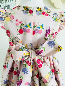 The Wishfairy Grace Dress (Grandma's Garden Bird Houses on Pink)