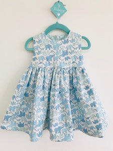 The Wishfairy Bunty Baby Dress (Blue Elephant Family)
