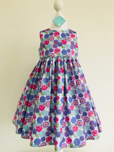 The Wishfairy Eve Dress 'Allium & Poppies on Blue with Bees'