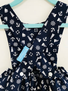 The Wishfairy Baby Riley Romper Suit (Nautical Theme on Blue)